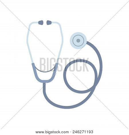 Stethoscope. Flat Style. Isolated On White Background