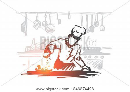 Cooking, Chef, Food, Meal Concept. Hand Drawn Chef Preparing Dish In Restaurant Concept Sketch. Isol