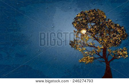 Autumn Tree On Background Lunar Night And Starry Sky. Shading, Layered Paper Effects And Textures To