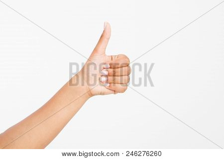 Woman's Hand Showing One Or Like Count Isolated On White Background. Afro American Hand. Mock Up. Co