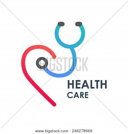 Health Care Text With Line Logo On White Background Desidn Graphic Vector