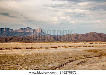 View of the Guadalupe Mountains from Salt Flats poster