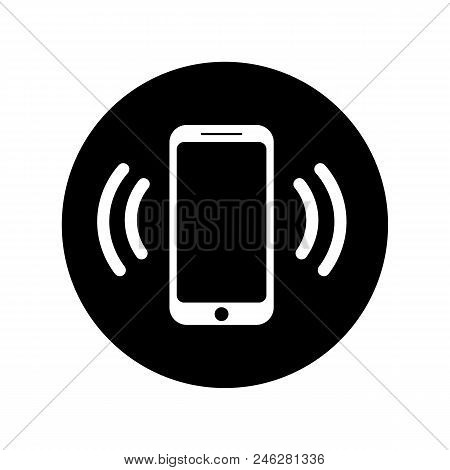 Ringing Phone Icon In Black Circle Mobile Phone Ringing Or Vibrating In Flat Style Isolated On White