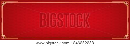 chinese new year background with golden border abstract oriental banner with decoration frame red
