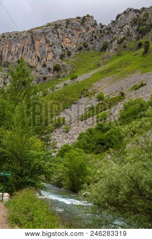 The Cares River ai Cain located in the Picos de Europa National Park, Spain.