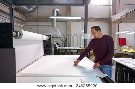 Calender transfer machine production operator man for textile fashion printing industry factory