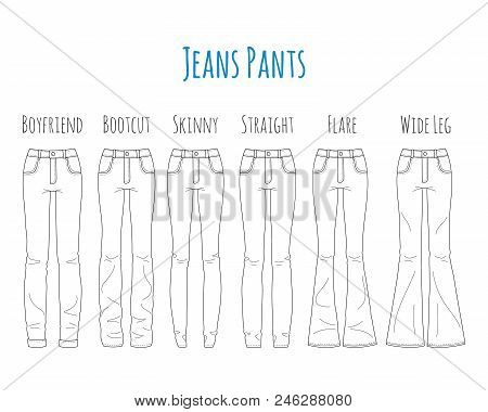 Jeans Pants Collection, Sketch Vector Illustration. Different Types Of Women Jeans Pants, Skinny, Bo