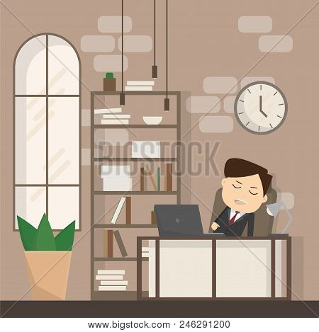 Businessman Falling Asleep At His Work, Business Concept In Sleeping, Dozing, Relaxing, Take A Break