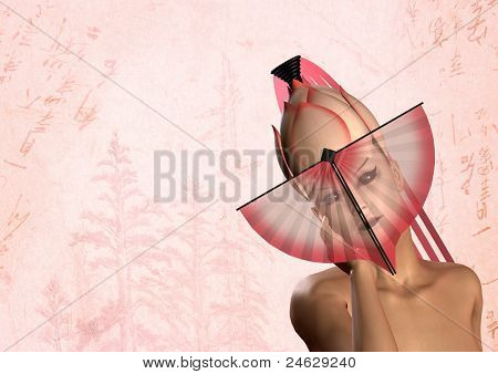 japanese geisha woman with pink fan