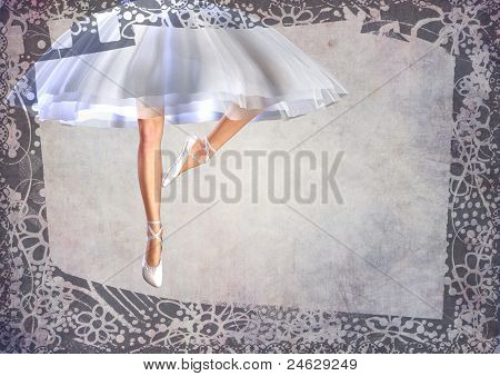 ballerina legs post card with frame