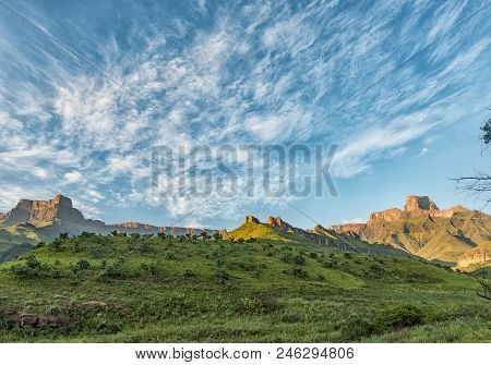 The View From The Tugela Gorge Hiking Trail In The Kwazulu-natal Drakensberg Of South Africa. The Am