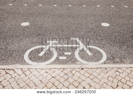 Bicycle Road. A Sign Of A Bicycle On A Bicycle Path.
