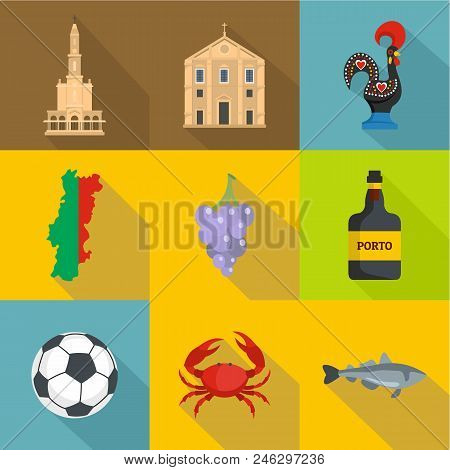 Portuguese Language Icons Set. Flat Set Of 9 Portuguese Language Vector Icons For Web Isolated On Wh
