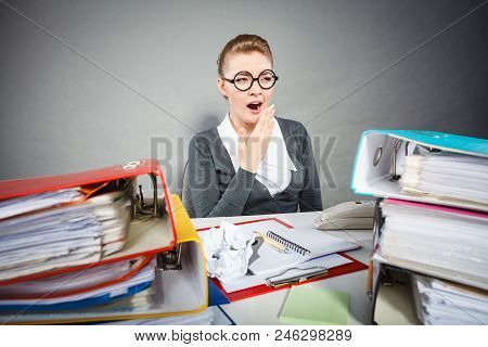 Paperwork Job Corporation Lazy Slow Boring Concept. Bored Office Employee At Work. Female Nerdy Bure