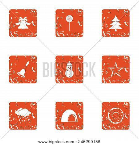 New Years Eve Icons Set. Grunge Set Of 9 New Years Eve Vector Icons For Web Isolated On White Backgr