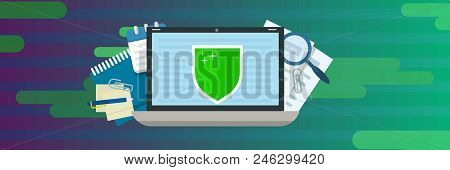 Laptop Data Protection Banner Horizontal. Flat Illustration Of Vector Laptop Data Protection Banner