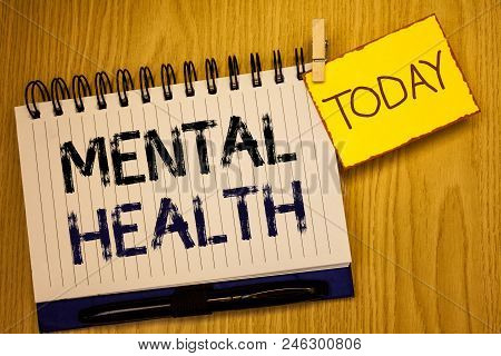 Wordss Writing Textss Mental Health. Business Concept For Psychological And Emotional Condition Well