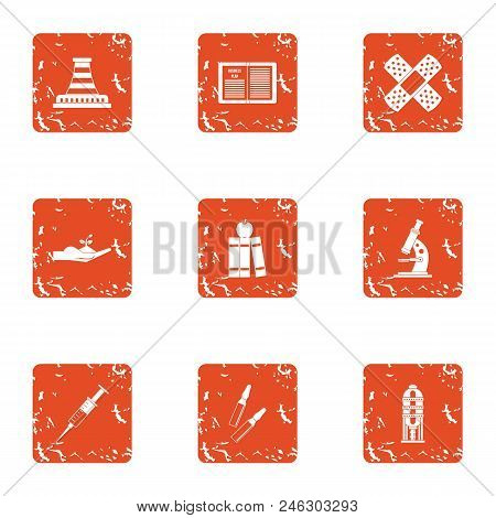 Difficult Material Icons Set. Grunge Set Of 9 Difficult Material Vector Icons For Web Isolated On Wh