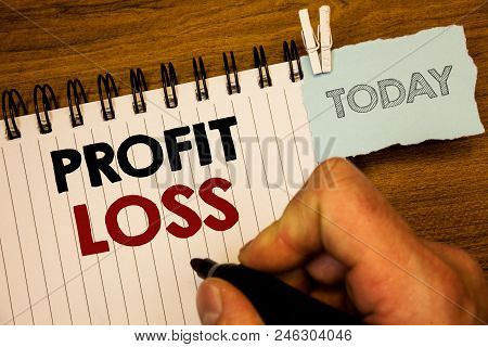Text Sign Showing Profit Loss. Conceptual Photo Financial Year End Account Contains Total Revenues A