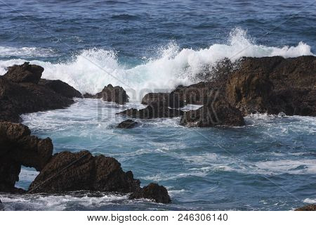 This Is An Image Of Coastal Rocks And Water Taken At The Point Lobos State Preserve In Carmel, Calif