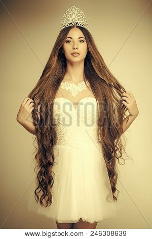 queen of shampoos. Girl has fashionable makeup and healthy hair on grey background. Haircare and prom queen. Beauty salon and wedding fashion. Hairdresser and cosmetics. Woman with long hair white dress and crown. poster