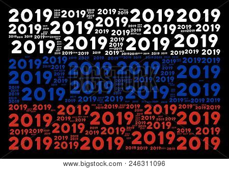 Russia National Flag Pattern Created Of 2019 Year Text Elements. Vector 2019 Year Text Items Are Uni