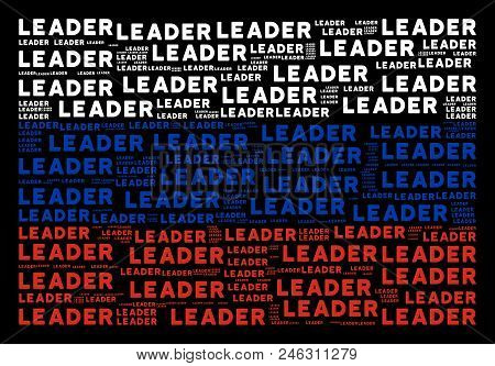 Russia Flag Mosaic Organized Of Leader Text Design Elements. Vector Leader Text Elements Are Combine