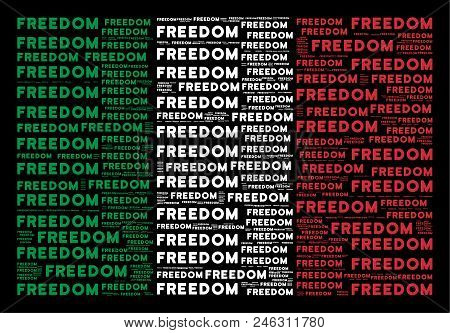 Italian State Flag Flat Concept Designed Of Freedom Word Items On A Black Background. Vector Freedom