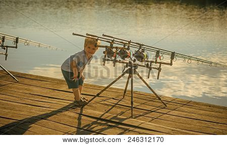 Child Is Fishing. Angling, Fishing, Activity, Adventure, Hobby, Sport. Angling Child With Fishing Ro