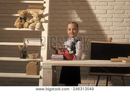 Home Education Concept. Kid In Classroom On White Brick Background. Girl At Desk With Colorful Stati