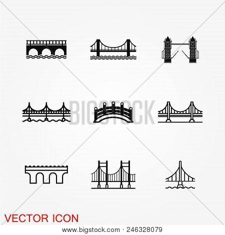 Bridge Icon Vector Button Logo Symbol Concept