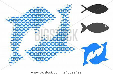 Fish Dolphins Halftone Collage. Vector Fish Icons Are Shaped Into Dolphins Collage. Eco Design Conce