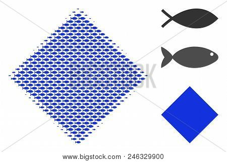 Fish Filled Rhombus Halftone Collage. Vector Fish Pictograms Are Formed Into Filled Rhombus Collage.