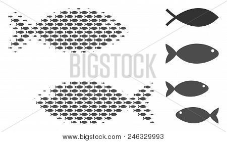 Fish Pair Halftone Mosaic. Vector Fish Icons Are Grouped Into Fish Pair Mosaic. Ocean Design Concept