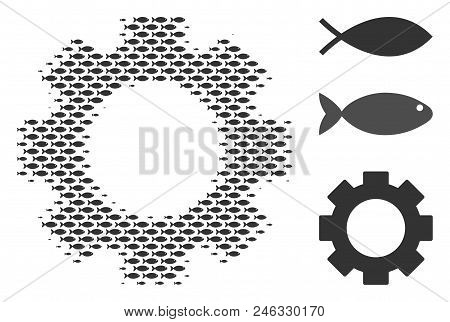 Fish Gear Halftone Collage. Vector Fish Items Are United Into Gear Collage. Seafood Design Concept.