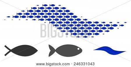 Fish Wave Shape Halftone Collage. Vector Fish Icons Are United Into Wave Shape Collage. Fishery Desi