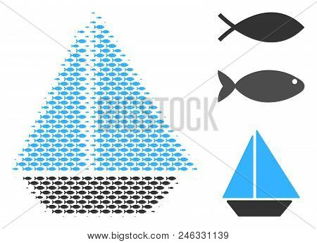 Fish Yacht Halftone Collage. Vector Fish Icons Are Grouped Into Yacht Collage. Nautical Design Conce