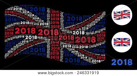Waving Great Britain Official Flag Collage Designed Of 2018 Year Texts. Vector 2018 Year Texts Are U