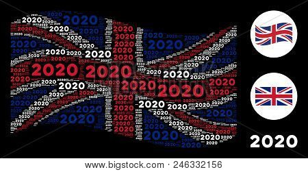 Waving United Kingdom Flag Concept Done Of 2020 Year Text Design Elements. Vector 2020 Year Text Ite