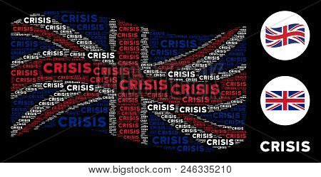 Waving Uk Official Flag Collage Constructed Of Crisis Texts. Vector Crisis Texts Are Composed Into M