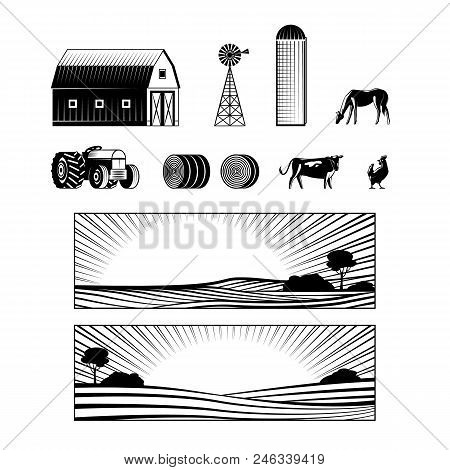 Farming And Countryside Set With Farmland Landscapes And Various Rural Stuff And Animals Monochrome