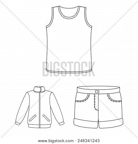 Different Kinds Of Clothes Outline Icons In Set Collection For Design. Clothes And Style Vector Symb