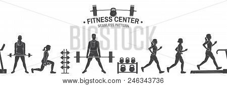 Fitness Center Seamless Pattern Or Background. Vector Illustration. For Design Fitness Centers, Gyms