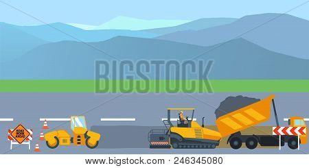 Road Work And Repair Banner Horizontal Concept. Illustration Of Road Work And Repair Banner Horizont