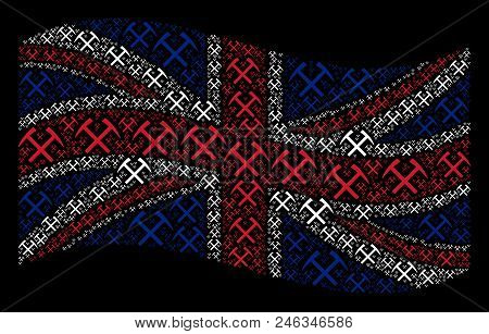Waving Uk State Flag On A Black Background. Vector Mining Hammers Items Are Arranged Into Mosaic Uni