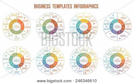 Circle Arrows Infographics. Templates For  3, 4, 5, 6, 7, 8, 9, 10 Positions. Can Be Used For Busine