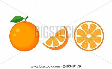Colorful Whole, Half And Slice Orange With Green Leaf. Vector Illustration Isolated Onwhite Backgrou