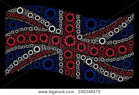 Waving Great Britain Official Flag On A Black Background. Vector Cogwheel Items Are Arranged Into Mo