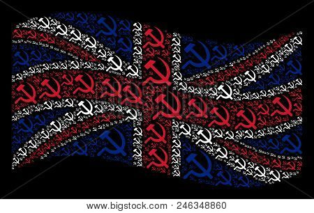 Waving British State Flag On A Black Background. Vector Sickle And Hammer Elements Are Scattered Int