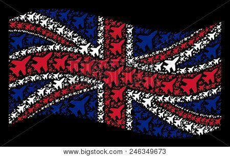 Waving British Flag On A Black Background. Vector Jet Fighter Items Are Organized Into Mosaic Englis
